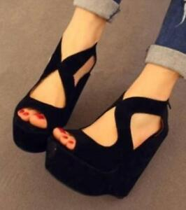 Sexy-Womens-Suede-High-Heel-Wedge-Sandals-Peep-Toe-Hollow-Black-Platform-Shoes