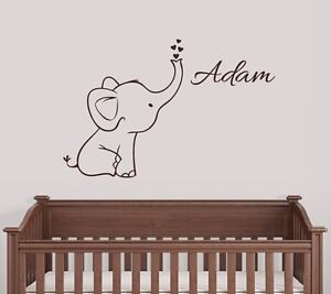 Image Is Loading Personalized Elephant Wall Decal Nursery Decor