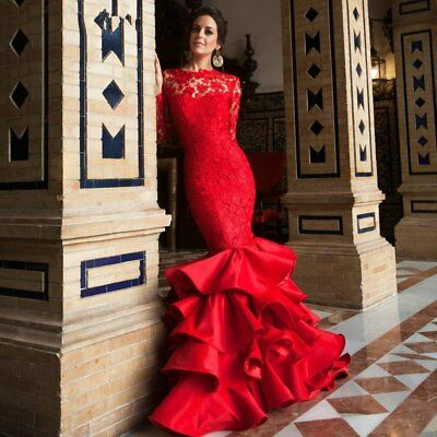 Long Sleeve Red Mermaid Dress Lace Wedding Gowns Ruffles Tiered