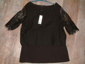 COMMA Lagen Shirt Bluse mit Spitze Gr. 44 (42) schwarz Neu mit Etikett 59,99€