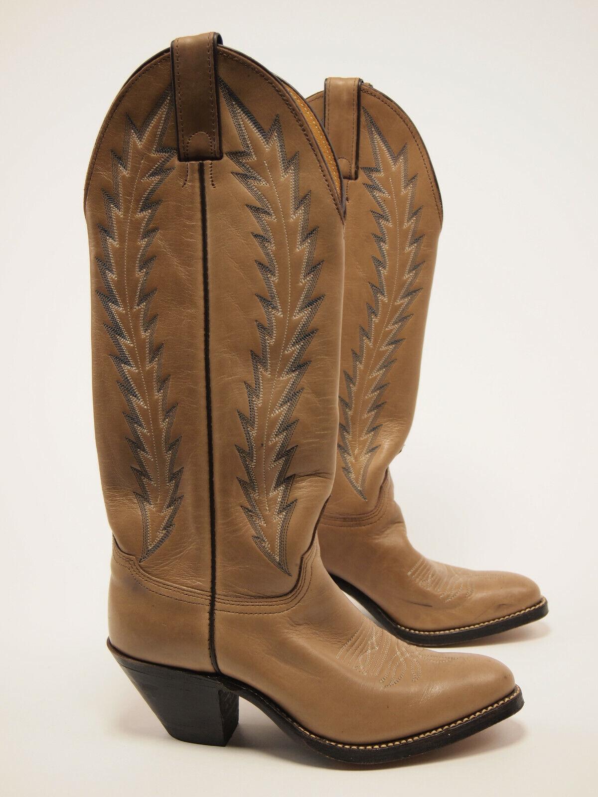 ABILENE Vintage 80s Tall Mocha Western Cowgirl Boots 5