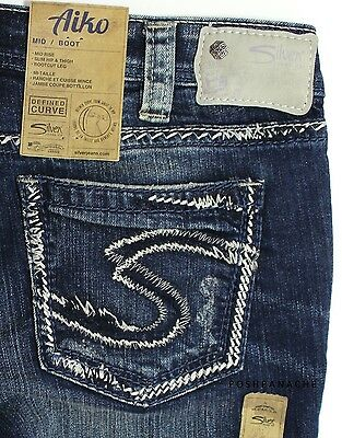 "NWT $98 Silver Jeans AIKO Mid Rise Distressed Boot Cut Denim 34"" Waist Size 30"