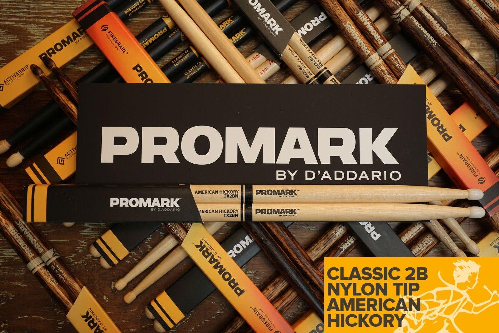 Promark Hickory 2B Nylon Tip Drum Sticks Brick of 6