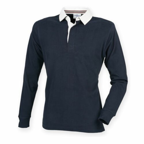 Mens Long Sleeve Plain Rugby Shirt Striped Diagonal Harlequin Cotton Front Row