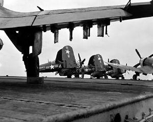 Vought-F4U-4-Corsair-Fighters-aboard-USS-Point-Cruz-8-034-x-10-034-Korean-War-Photo-26