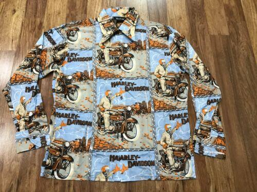 MENS XL - NOS Vtg 70s Harley Davidson Allover Prin