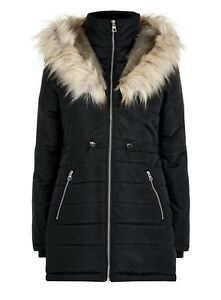 Women-s-New-Look-Parka-Coat-Faux-Fur-Trim-Hood-UK-6-Black-Puffer-Padded-Jacket