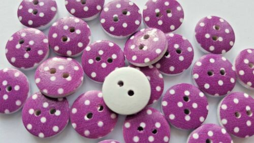 Pois Forme Ronde Couleur 2 Trous en Bois Couture Craft Scrapbook Boutons-UK
