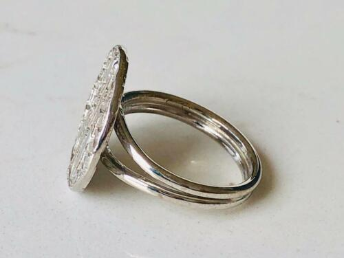 925 Sterling Silver Large Coin Ring Medallion Statement Disc Size US 6 7 8 9