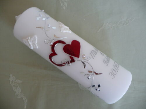 Hochzeitskerze Jubiläumskerze Herz Schmetterling verschiedene Farben