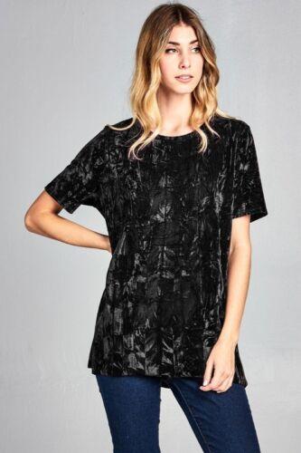 S M L Women/'s Basic Solid Soft Velvet T-shirt Top Short Sleeves Loose Oversized