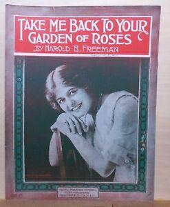 Strict Me Ramener à Votre Jardin De Roses - 1917 Grandes Partitions-afficher Le Titre D'origine Blanc Pur Et Translucide