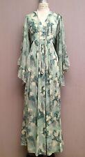 VINTAGE 60s 70s Angel Sleeve Hippie Floral Dress Sage Empire Maxi Boho XS/S