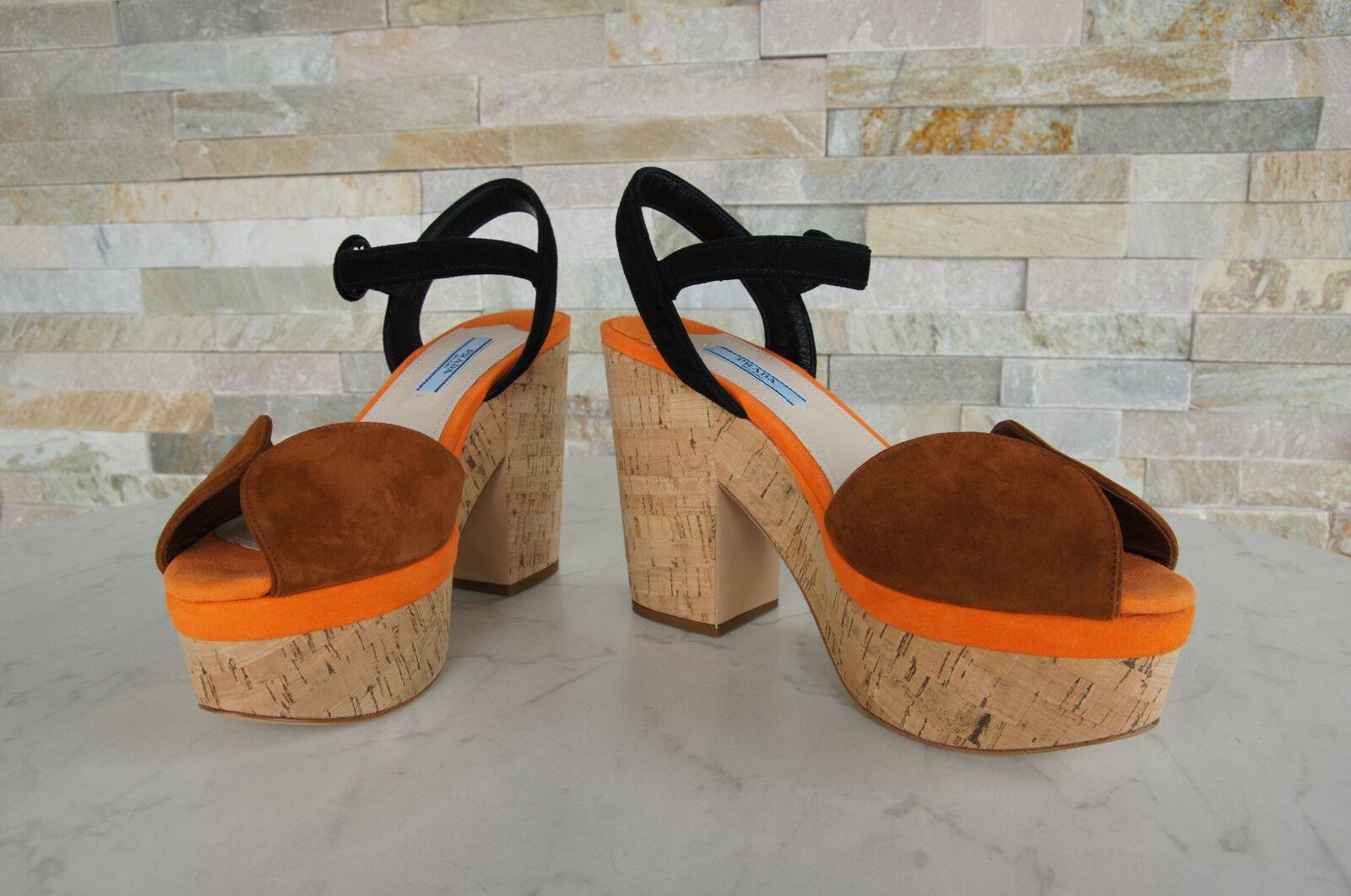 PRADA Plateau Gr 39 Sandaletten Kork Heels Heels Heels 1XZ519 Schuhe Schuhes  neu 1d10c6