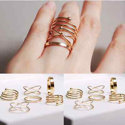 6PCS/Set Rings Urban Gold stack Plain Simple Above Knuckle Ring Band Midi Ring