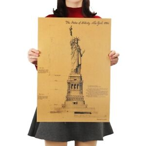 The Statue of Liberty In New York Retro Poster Adornment Building Kraft