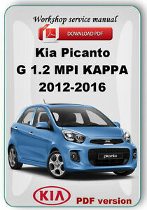 kia picanto g 1 2 l1 0 g1 0 f1 0 kappa 2012 2016 factory workshop rh m ebay ie kia picanto repair manual kia picanto factory service repair manual