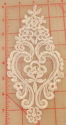 "12 white appliques embroidered flower designs on organza gimp outline 7.5"" small"