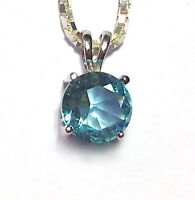 1.25 Ct. Aquamarine Solitaire Pendant Necklace Solid Sterling Silver Gift Box
