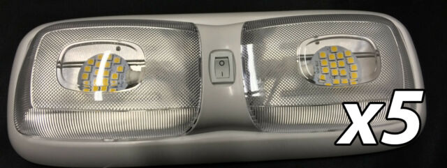 x5 RV LED 12v Fixture Ceiling Camper Trailer Marine Double Dome Light
