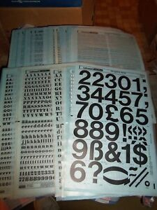 aa NOS Letraset Lettering 10 x 15 Sheet Various Fonts Sizes  Use Drop-Down Box
