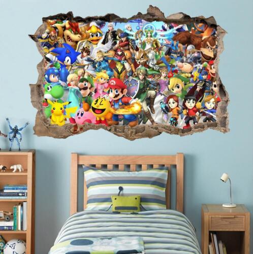 Super Smash Bros Mario Luigi Smashed Decal Graphic Wall Sticker Art Mural H726