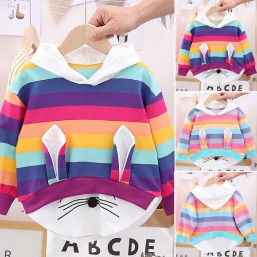 Toddler Kids Baby Girl Rainbow Cartoon Long Sleeve Tops Blouse Hooded Sweatshirt