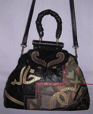 Vtg COLINI USA Patchwork Leather Purse BLACK/GOLD Shoulder Strap Hand Bag Handle