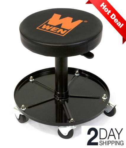 Garage Work Stool Padded Swivel Chair Mechanic Shop Bench Seat Heavy Duty 300LBS