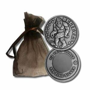 1-1-2-oz-999-Silver-Round-with-Magnet-and-Gift-Bag-Bigfoot-Sasquatch-Beli