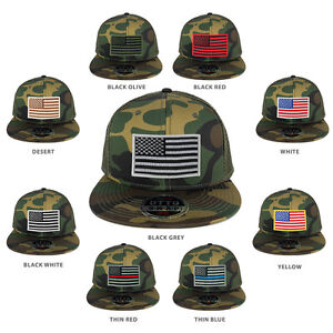 Image is loading USA-American-Flag-Embroidered-Patch-Snapback-Camo-Mesh- 72ad95c9cbc