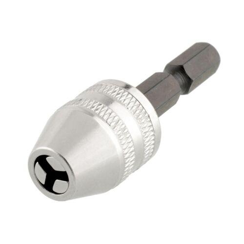 "1//4/"" Mini Keyless Drill Chuck Tige Hex Adaptateur Argent Brique Outils Rotatifs Perceuse"