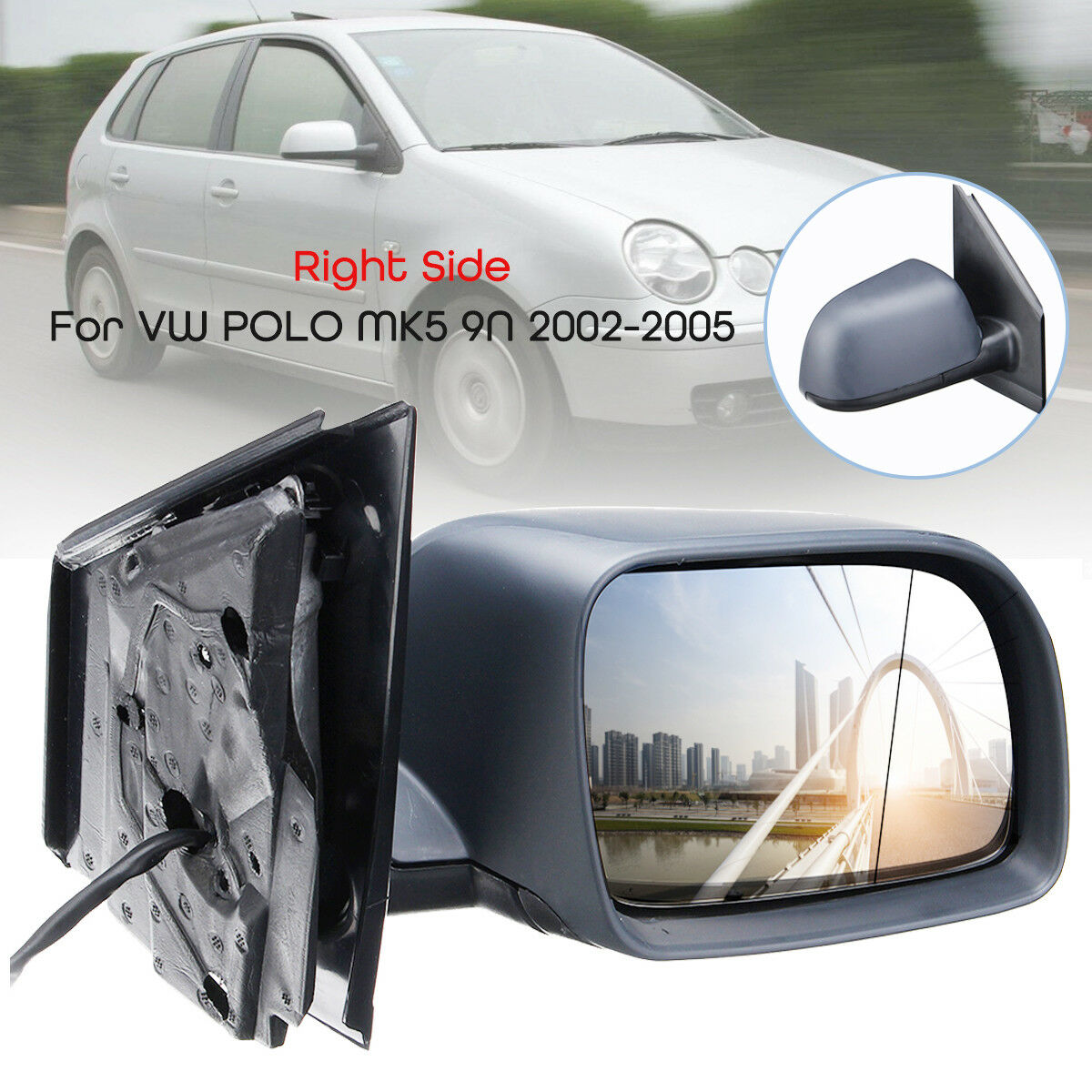 Car Heated Electric Door Wing Mirror Glass Left Side For VW POLO MK5 9N 02-05