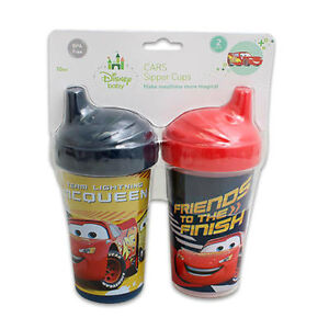 2-pack Spill Proof Disney Pixar Cars Lightning Mcqueen Slim Sippy Cups Red, Blue