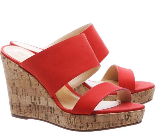 Schutz Women/'s Kai Wedge Slides Summer Red Leather Cork Platform Sandals Mule