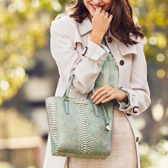 f8e1efc325 Brahmin Opal Seville Collection Harrison Carryall Snake-Embossed  Convertible Tote
