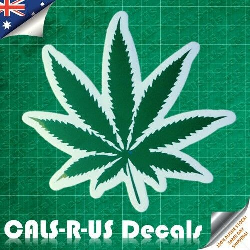 GREEN Hemp Smoke Marijuana Leaf Luggage Sticker Skateboard Guitar Bike Fridge L4