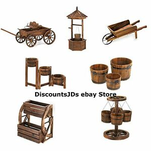 Wood Planter Wagon Wheel Hanging Bucket Box Flower Cart Ebay