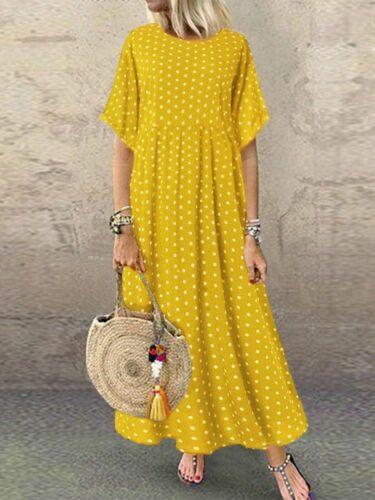 New Women Flared Short Sleeve Summer T-Shirt Dress Polka Dot Long Maxi spring