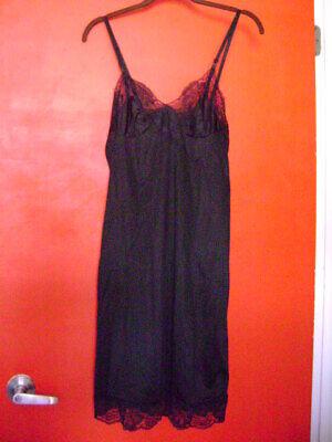 size 34 Bust Length 45 in Exc Cond Vintage Lingerie Women/'s Full Length Black Nylon Slip with Adjustable Hem to Clip Away