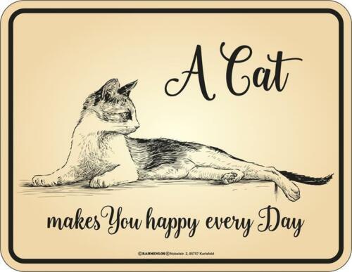 Magnet Deko Notizhalter A CAT MAKES YOU HAPPY EVERY DAY  9x7 cm Katze