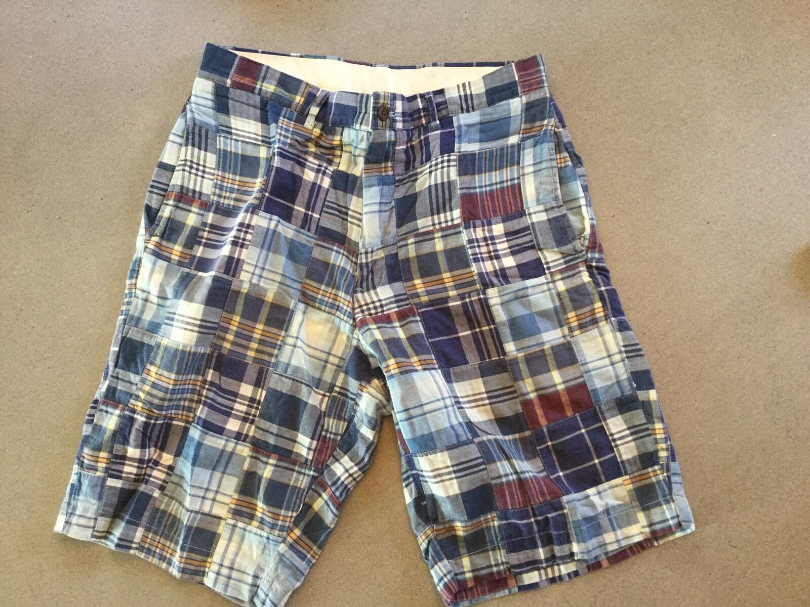 POLO-RALPH LAUREN Patchwork Plaid Madras Shorts Size 32