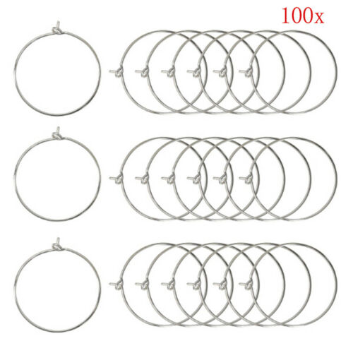 100Pcs Silver Gold  Wine Glass Charm Rings Earring Hoops Wedding Party VT