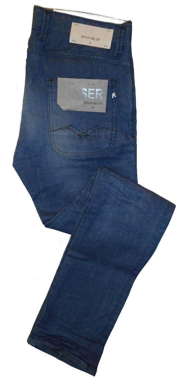 REPLAY LASER ONE OFF awhal SLIM FIT W31 L34 RRP  Da Uomo Blu Jeans