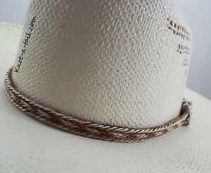 New Western Horse Hair Flat Hatband Rodeo Cowboy Wide Horsehair Hat Band
