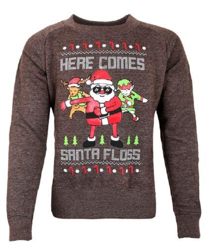 Unisex Kids Christmas Santa Floss Like Boss Novelty Sweatshirt Funny Jumper