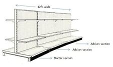 """12' AISLE GONDOLA FOR CONVENIENCE STORE SHELVING USED 54"""" TALL 36"""" W"""