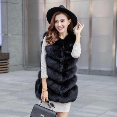hot New Faux Fox Fur Vest Women Waistcoat Winter Warm Long Gilet Coat Jacket sz