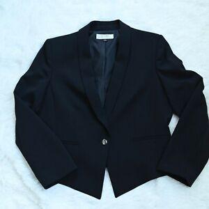 Tahari-ASL-Levine-Womens-Solid-Black-Button-Blazer-Suit-Jacket-Size-16