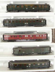 Roco-44452-Konvolut-Set-5-Stueck-Hechtwagen-der-DB-Epoche-3-gut-erhalten
